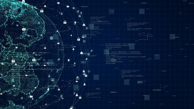 Technologie netwerk dataverbinding, digitaal datanetwerk en cyberveiligheidsconcept. aarde-element ingericht door nasa.