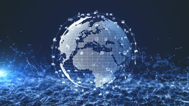 Technologie netwerkgegevensverbinding, digitaal netwerk en cyber security concept. aarde-element ingericht door nasa.