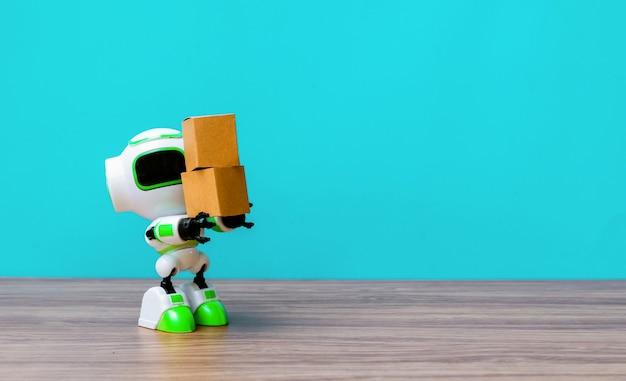 Technologie robot bedrijf industrie de doos of robots werken in plaats van mensen