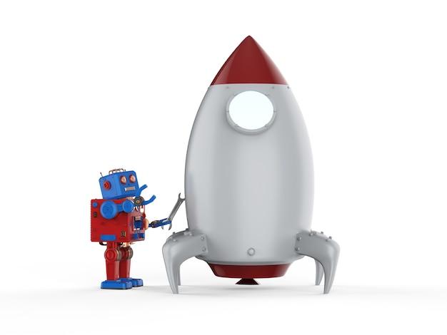 Technologie start-up concept met 3d-rendering tintoy robot met space shuttle