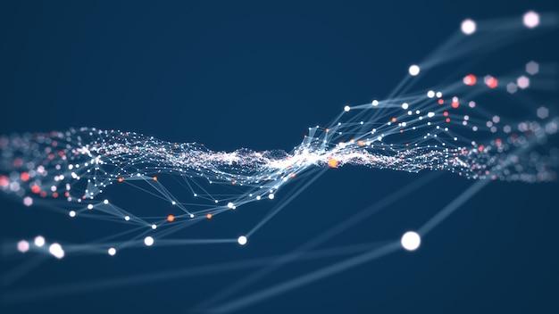 Technologie verbinding digitale gegevens en big data concept. abstracte lijnen en punten verbinden achtergrond. futuristische vorm. computer-gegenereerde abstracte achtergrond. 3d-weergave.