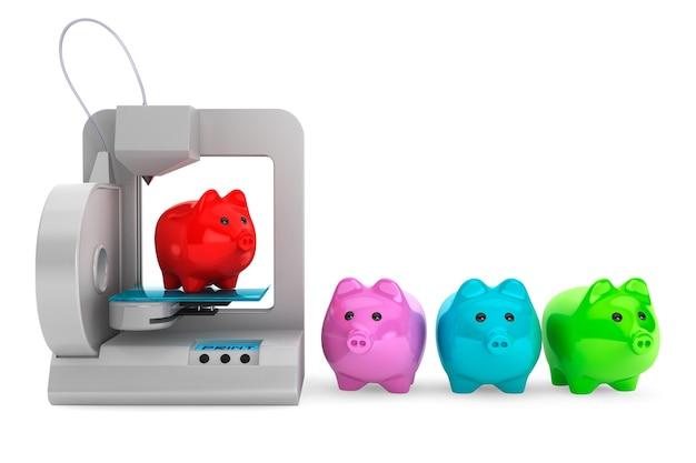 Technologieconcept. modern home 3d-printer print multicolour spaarvarkens op een witte achtergrond