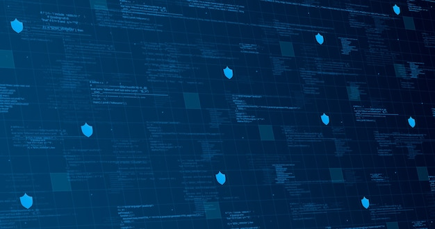 Technologische achtergrond blauw met code-elementen en lichtlijnen