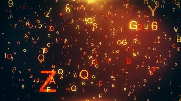 Technologische achtergrond met vliegende letters en cijfers 3d illustratie
