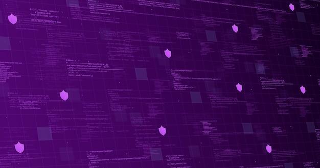 Technologische achtergrond paars met code-elementen en lichtlijnen