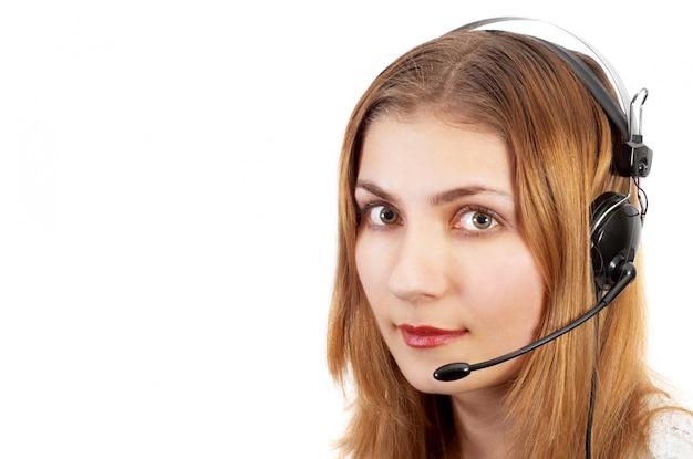 Techsupport meisje aan de telefoon