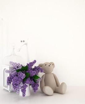 Teddybeer met vaas van purple en vogelkooi in jong geitjekamer voor kunstwerk - het 3d teruggeven
