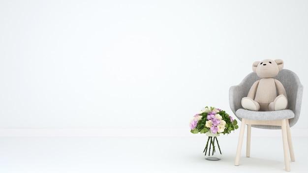 Teddybeer op leunstoel en bloem voor kunstwerk - 3d-rendering