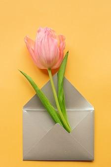 Tedere roze tulp in elegante grijze envelop in midden van pastel gele achtergrond. plat leggen. kopieer ruimte. plaats voor tekst. concept van internationale vrouwendag, moederdag, pasen. valentijnsdag liefdesdag