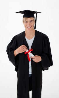Teen guy celebration graduation