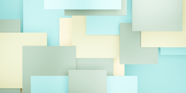 Tegel achtergrond pastel groene geometrische hiërarchie abstracte vierkante 3d illustratie