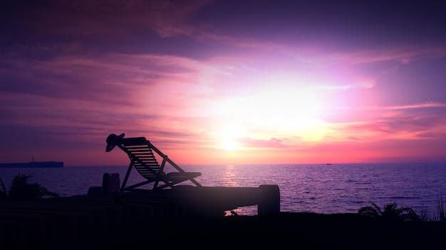 Tegen de achtergrond van een paarse zonsondergang, een eenzame ligstoel op een lege oever