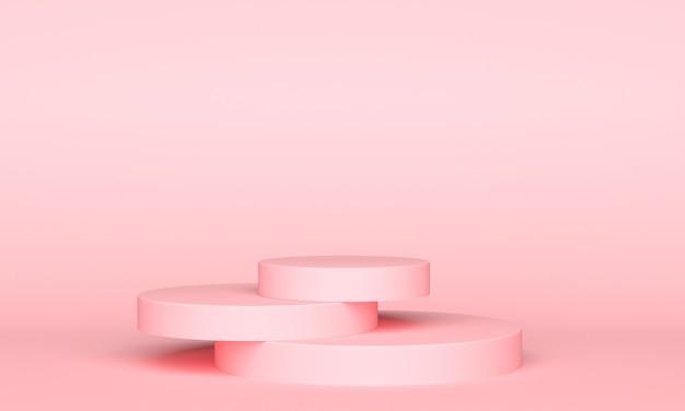 Tegen een roze achtergrond liggen drie roze plateaus op elkaar. minimalistische stijl, kopieer ruimte. 3d-weergave