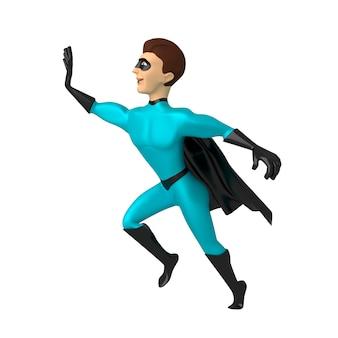 Teken een superheld in een blauw pak met een opgeheven hand 3d-afbeelding