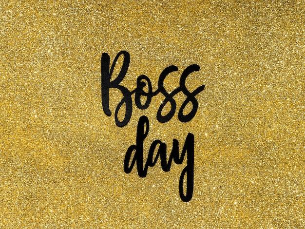 Teken met baas dag met glitter achtergrond