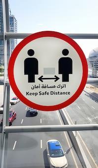 Teken veilige afstand houden
