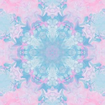 Tekenen met aquarellen, abstracte afbeeldingen voor de achtergrond. design element, pastel roze en blauwe kleuren. geometrische bloemen, caleidoscoopvervaging