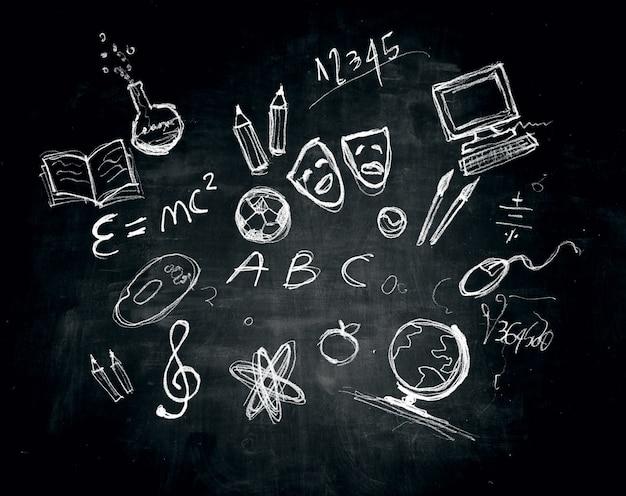 Tekening en illustraties op een schoolbord