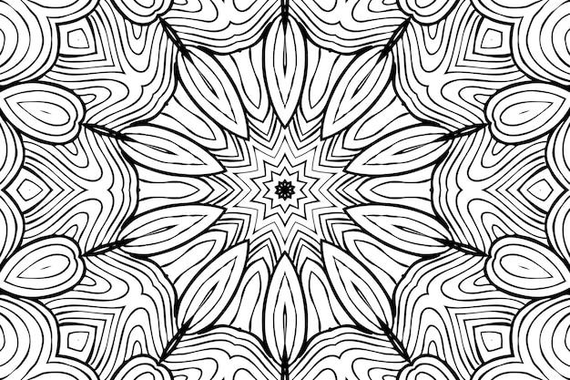 Tekening kleurplaat anti-stressprogramma, zwart-wit symmetrische bloemtekening. monochroom bloemen achtergrond. hand getekende ornament met bloemen, ontspannend kleurboek. curls mandala meditatieve tekening