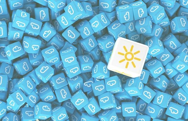 Tekening uit vele verspreide kubussen met iconen van wolken en de grote kubus met zon