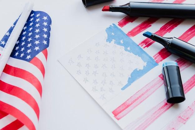 Tekening van de amerikaanse vlag