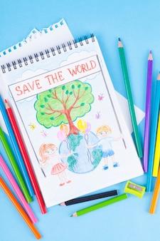 Tekening van kinderen van de planeet, boom, kinderen, het probleem van milieubescherming, ecologie.