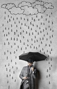 Tekening van regen boven een elegante man