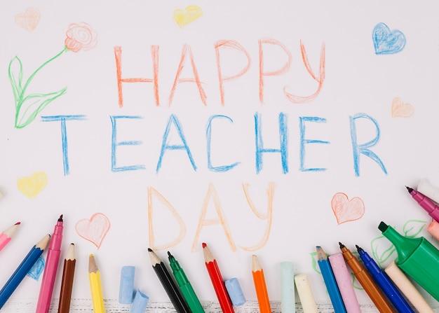 Tekening van studenten naar leraar