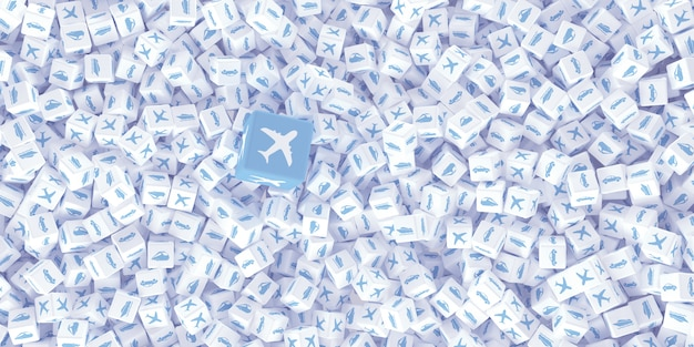 Tekening van veel verspreide kubussen
