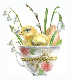 Tekening voor de dag van pasen. een ei met een kip zit in een kopje met bloemen.