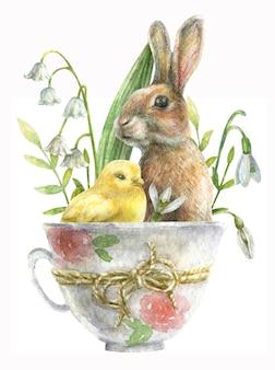 Tekening voor de dag van pasen. konijn met kip zit in een kopje met bloemen.
