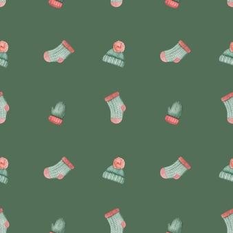 Tekening winterkleren en dingen naadloze patroon. mooie wenskaart. detailopname