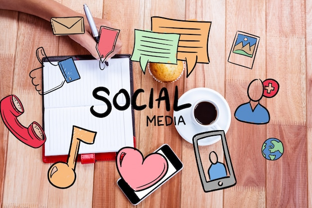 Tekeningen van concepten van de sociale media