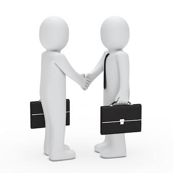 Tekens met aktetassen het sluiten van een deal