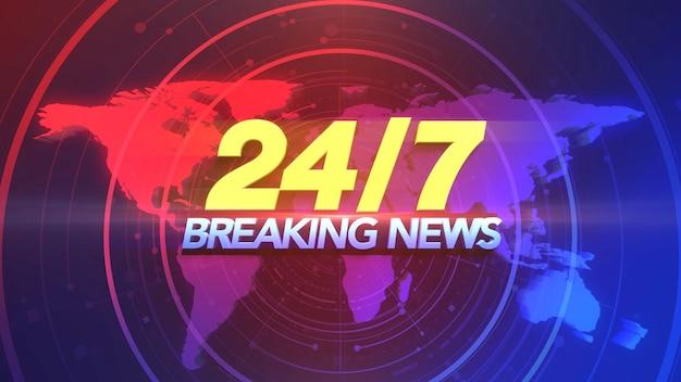 Tekst 24 breaking news en nieuws grafisch met lijnen en wereldkaart in studio, abstracte achtergrond. elegante en luxe 3d-illustratiestijl voor nieuwssjabloon