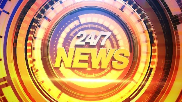 Tekst 24 nieuws en nieuws grafisch met lijnen en cirkelvormen in studio, abstracte achtergrond. elegante en luxe 3d-illustratiestijl voor nieuwssjabloon