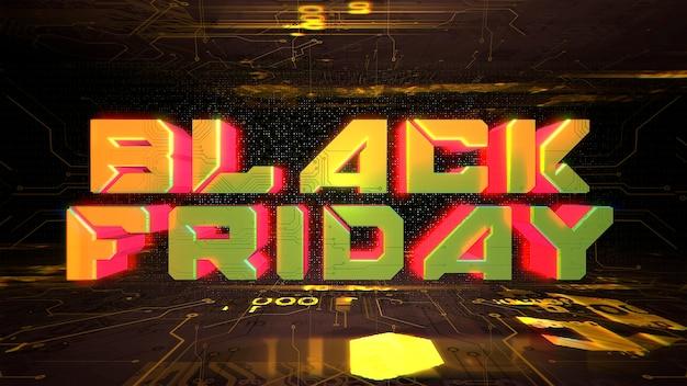 Tekst black friday en cyberpunk achtergrond met computerchip. moderne en futuristische 3d-illustratiestijl voor cyberpunk- en technologiethema