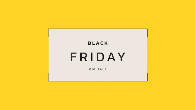 Tekst black friday op gele mode en minimalisme achtergrond met geometrische frame. elegante en luxe 3d illustratie voor zakelijke en zakelijke sjabloon