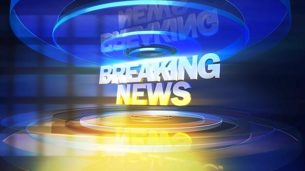 Tekst breaking news en nieuws afbeelding met lijnen en cirkelvormen in studio, abstracte achtergrond. elegante en luxe 3d-illustratiestijl voor nieuwssjabloon