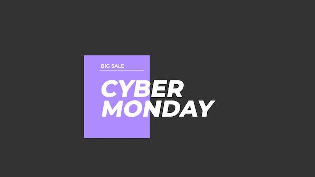 Tekst cyber maandag op zwarte mode en minimalisme achtergrond met geometrische vorm. elegante en luxe 3d illustratie voor zakelijke en zakelijke sjabloon