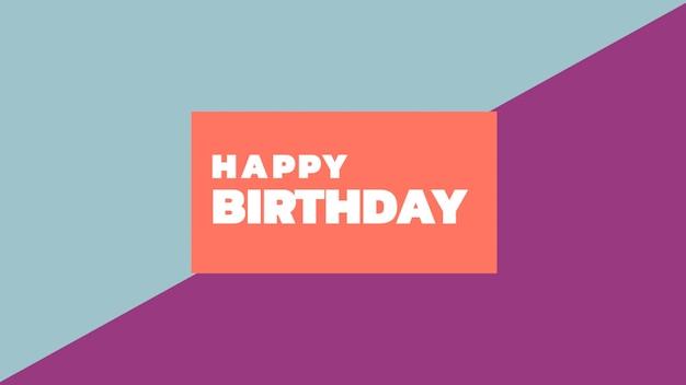 Tekst happy birthday op mode en minimalisme achtergrond met geometrische vorm. elegante en luxe 3d-illustratiestijl voor vakantie- en bedrijfssjabloon