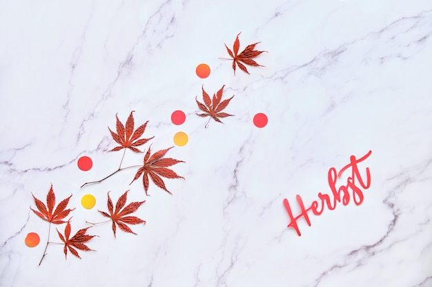 Tekst herbst betekent herfst in de duitse taal. minimale herfst seizoensgebonden achtergrond met natuurlijke esdoorn bladeren en confetti.