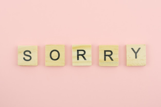 Tekst houten blokken spelling het woord sorry op roze achtergrond