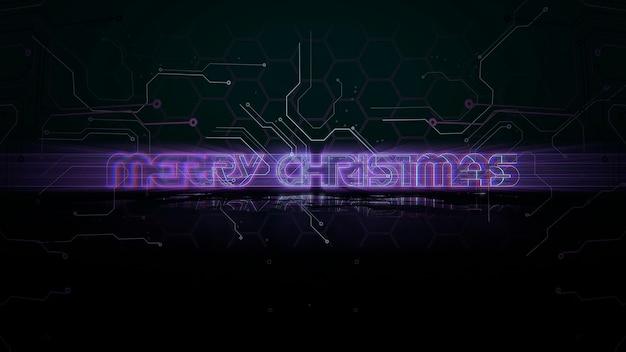 Tekst merry christmas en cyberpunk achtergrond met computer matrix en raster. moderne en futuristische 3d-illustratie voor cyberpunk en filmisch thema