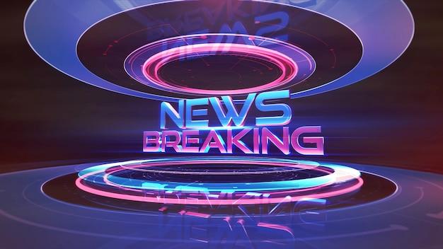 Tekst nieuws breaking en nieuws afbeelding met lijnen en cirkelvormen in studio, abstracte achtergrond. elegante en luxe 3d-illustratiestijl voor nieuwssjabloon