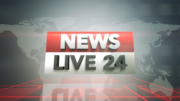 Tekst nieuws live 24 en nieuwsafbeelding met lijnen en wereldkaart in studio, abstracte achtergrond