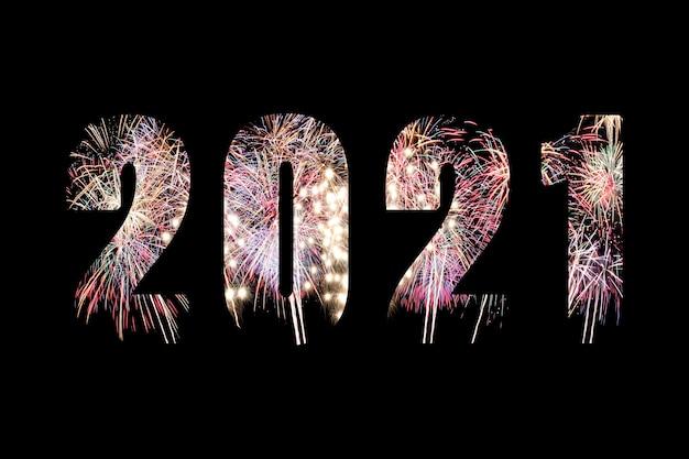 Tekst op vuurwerk achtergrond voor ontwerp in uw werk nieuwjaar en kerstmis concept