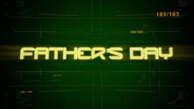 Tekst vaderdag en cyberpunk-animatie met computernummers en raster. moderne en futuristische dynamische 3d-illustratie voor cyberpunk en filmisch thema