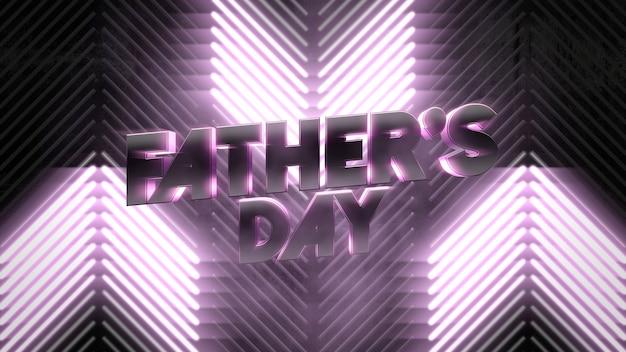 Tekst vaders dag en beweging paarse neon lijnen, abstracte vakantie achtergrond. elegante en luxe dynamische neonclub 3d-illustratiestijl