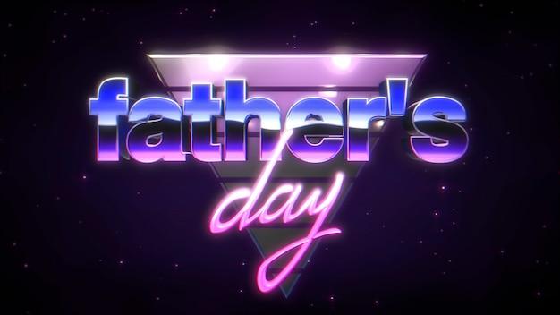 Tekst vaders dag en neon paarse driehoeken in melkweg, retro vakantie achtergrond. dynamische 3d-illustratiestijl voor club- en entertainmentsjabloon